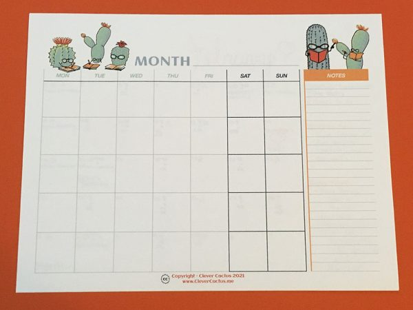 Clever Cactus Calendar colour blank