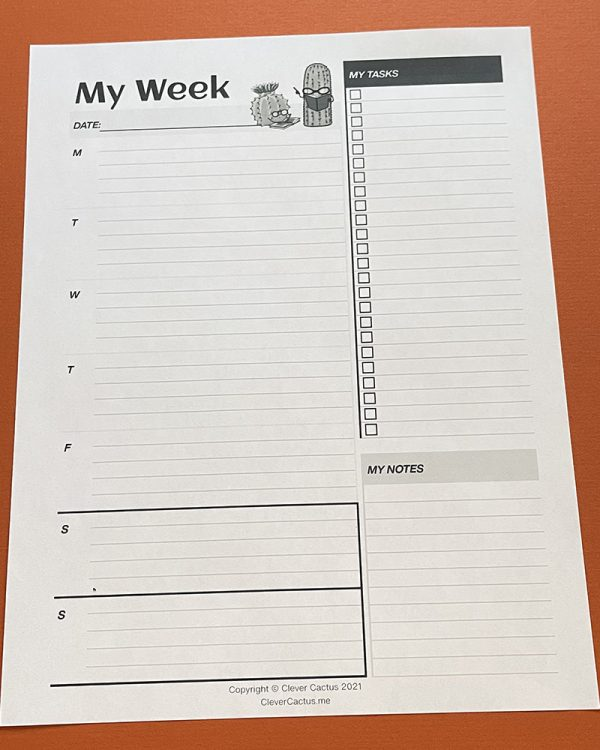 Clever Cactus Weekly Agenda download black and white