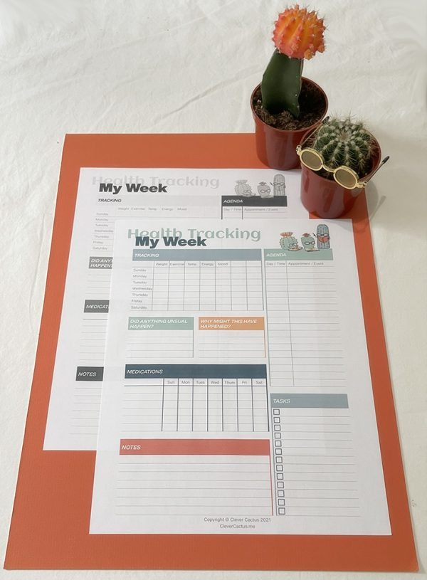 Clever Cactus Weekly Health Tracking Colour and Black & White
