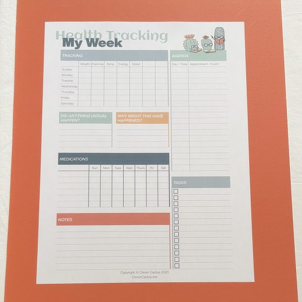 Clever Cactus Weekly Health Tracking Colour